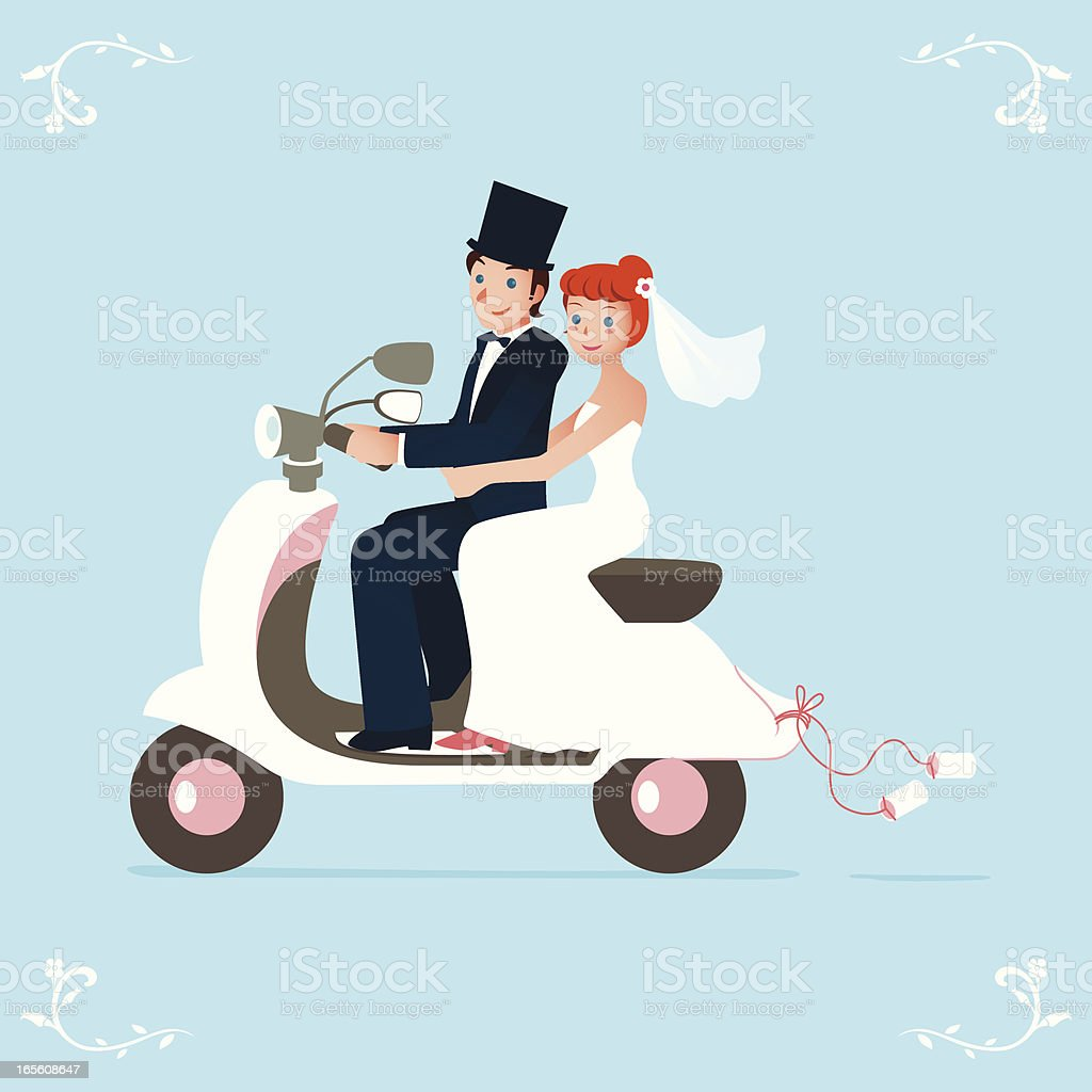 newlywed bride and groom on a scooter vector art illustration