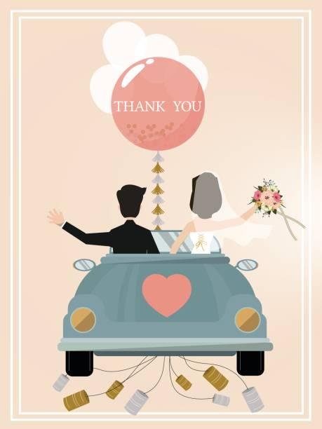 brautpaar fährt einen cabrio oldtimer für ihre flitterwochen. - hochzeitspaare stock-grafiken, -clipart, -cartoons und -symbole