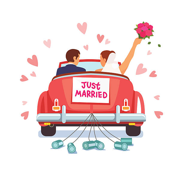 Newlywed couple is driving car for their honeymoon Newlywed couple is driving a vintage convertible car for their honeymoon with just married sign and cans attached. Flat style vector illustration isolated on white background. bridegroom stock illustrations
