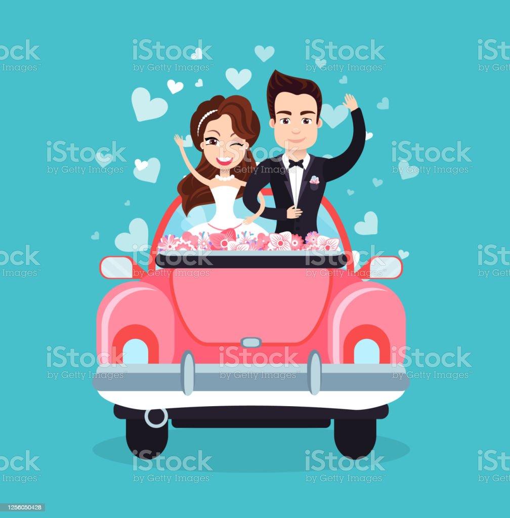 Vector de mains ondulantes de voiture de couples de jeunes mariés - clipart vectoriel de Adulte libre de droits