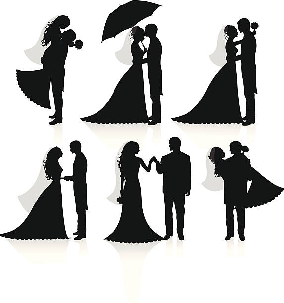 Newlywed. Set of vector silhouettes of a groom and a bride. bridegroom stock illustrations
