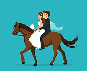 Newlyweds, bride and groom riding horse on wedding day