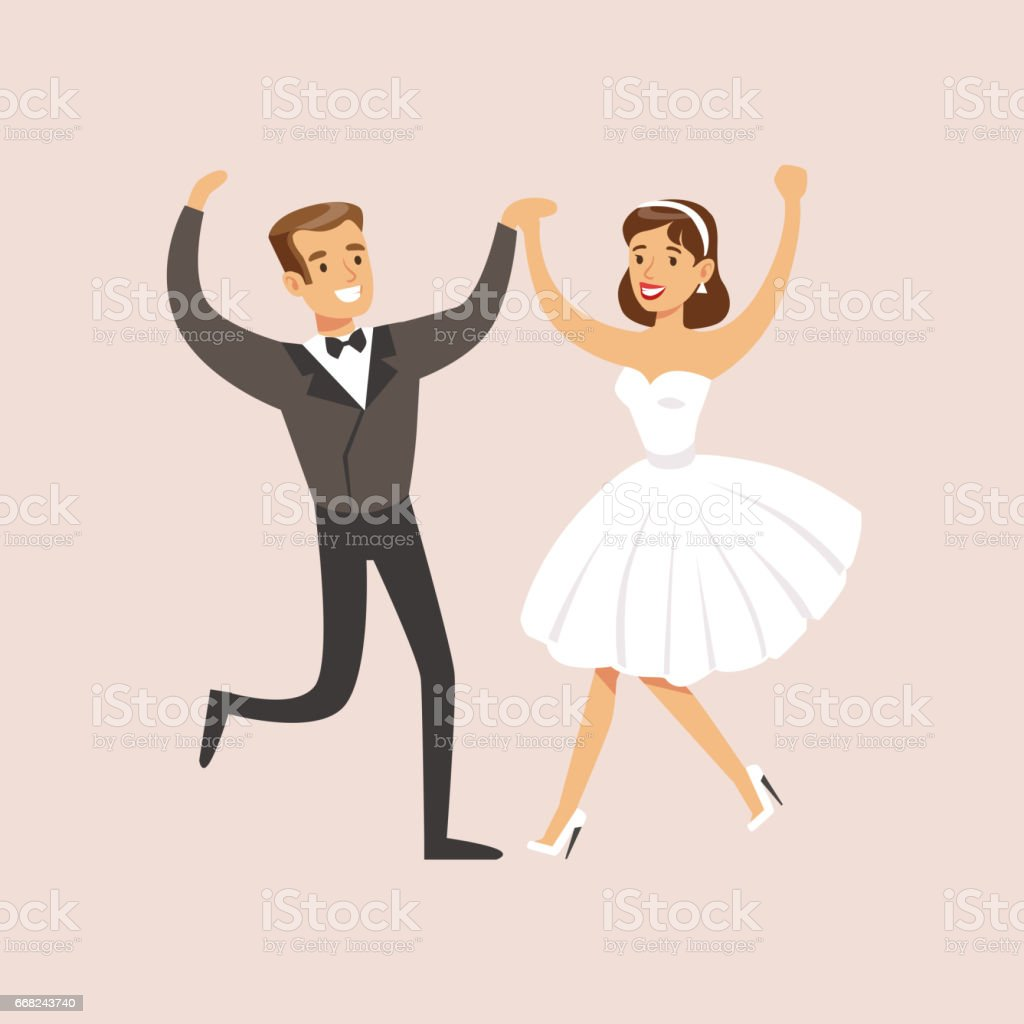 Newlyweds Dancing Rock-n-roll At The Wedding Party Scene newlyweds dancing rocknroll at the wedding party scene - immagini vettoriali stock e altre immagini di adulto royalty-free