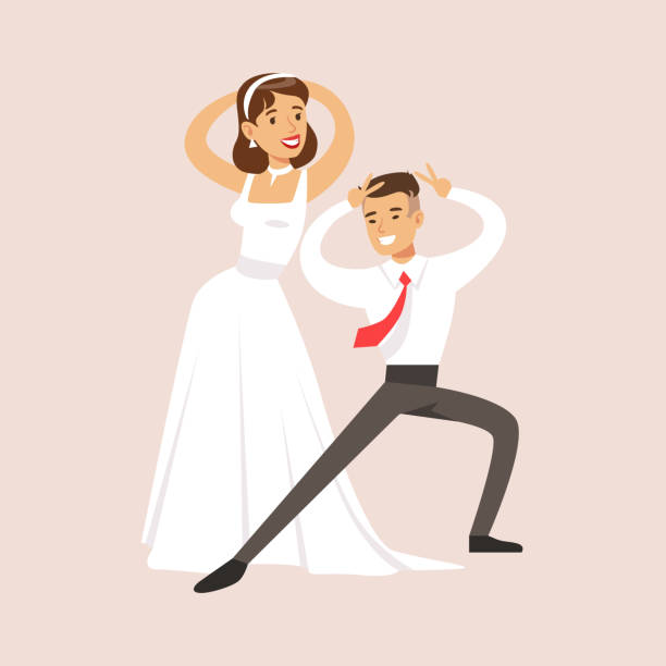 Newlyweds Doing Pulp Fiction Dance At The Wedding Party Scene Vector Art Illustration