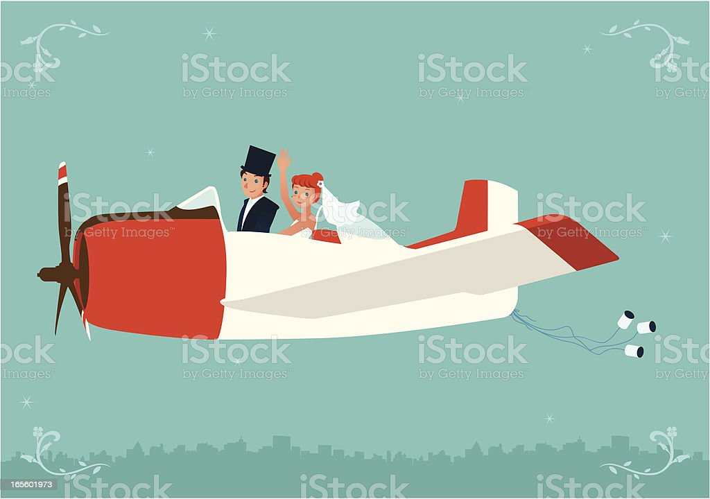 Newlyweds flying a cute antique airplane vector art illustration