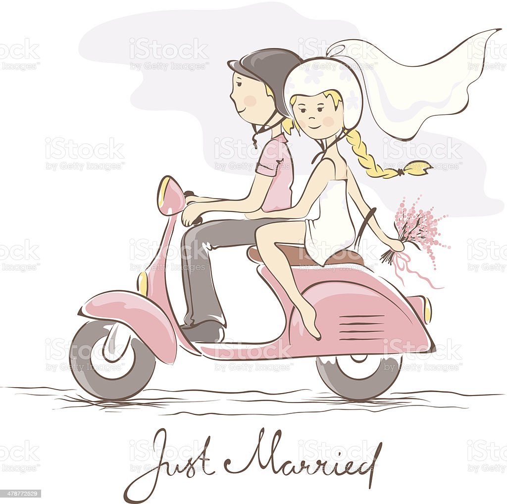 Newlyweds on a scooter vector art illustration
