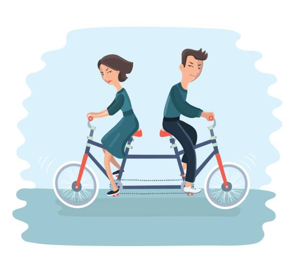 newlyweds on bike bed. married couple - communication problems stock illustrations, clip art, cartoons, & icons
