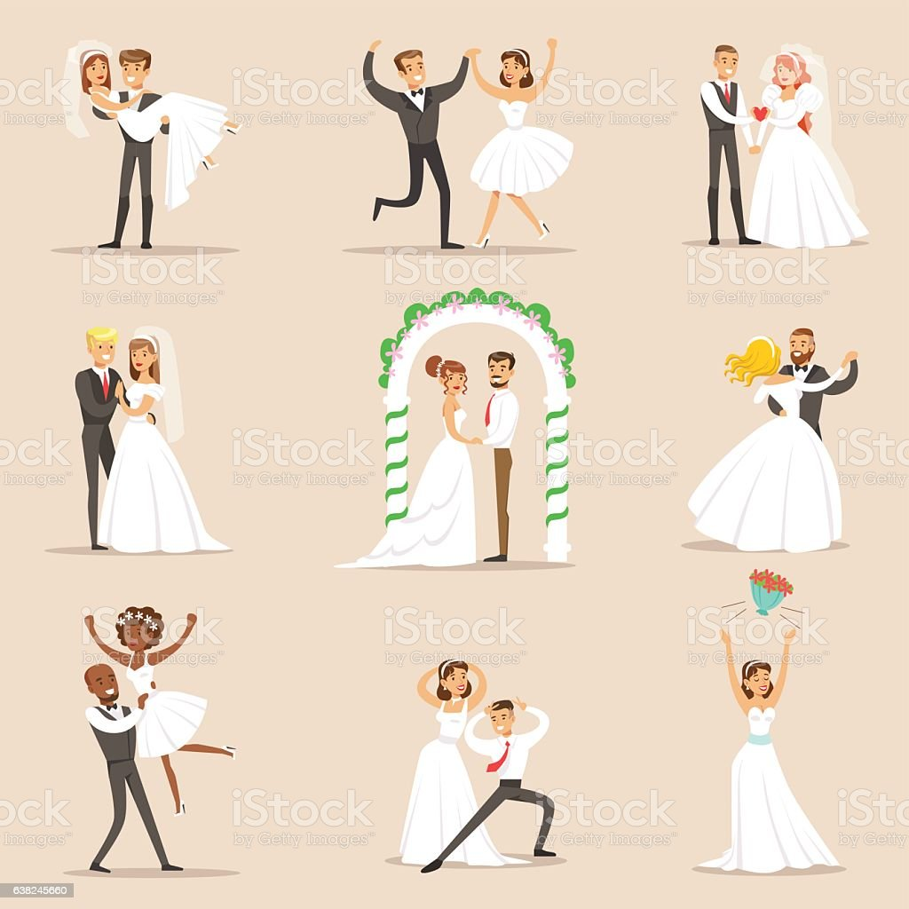 Newlyweds Posing And Dancing On The Wedding Party vector art illustration