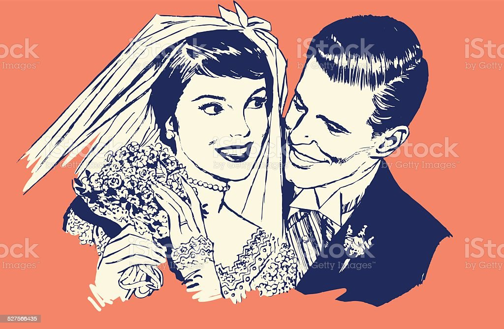Newlyweds vector art illustration