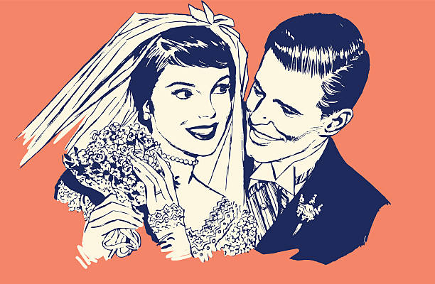 newlyweds - marriage stock illustrations