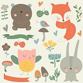 Vector set of forest animals, flowers, mushrooms, birds and butterflies in cartoon style