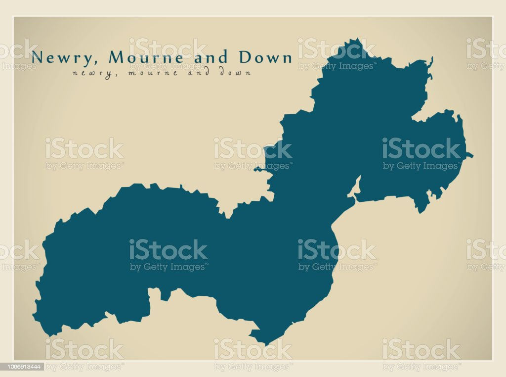 Map Of Ireland Northern Ireland.Newry Mourne And Down District Map Of Northern Ireland Stock Vector Art More Images Of Cartography