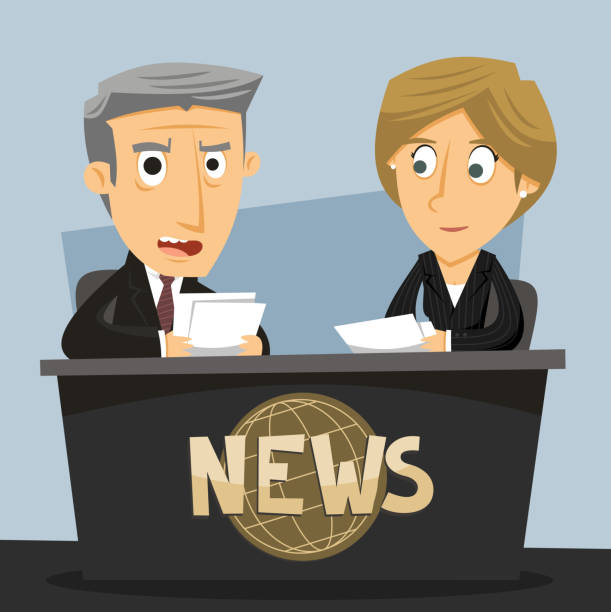 stockillustraties, clipart, cartoons en iconen met news anchor journalist anchorwoman and anchorman - perskamer