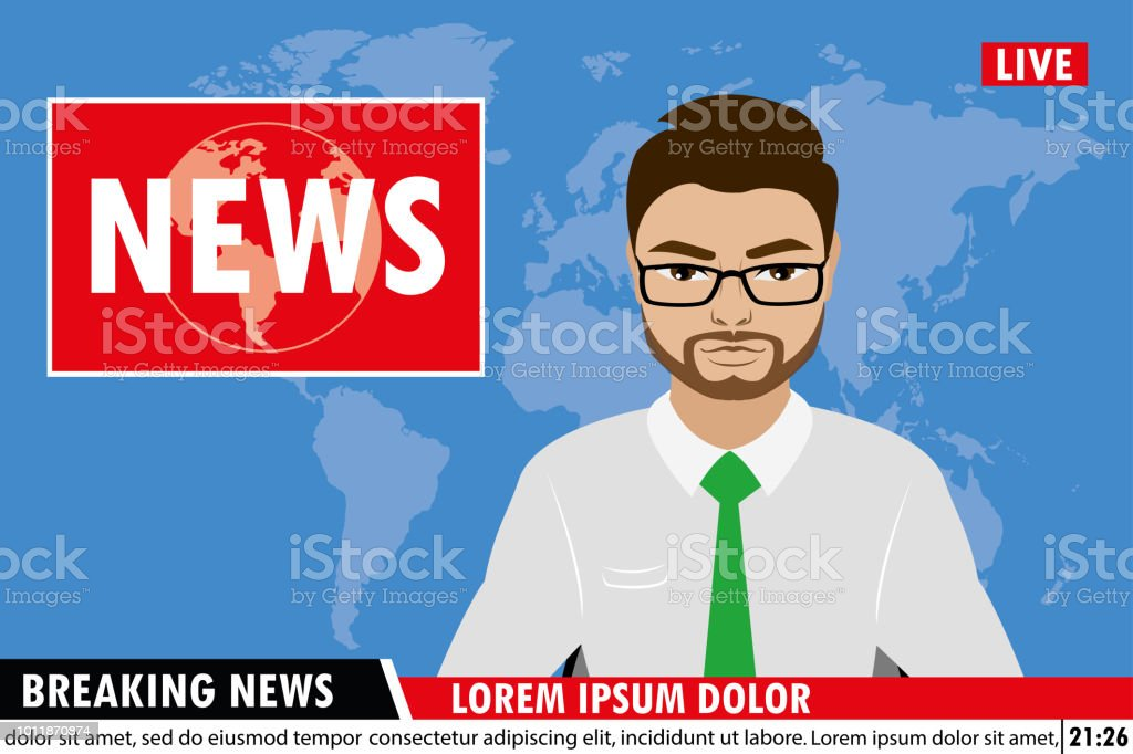 News Anchor On Tv Breaking News Background Stock