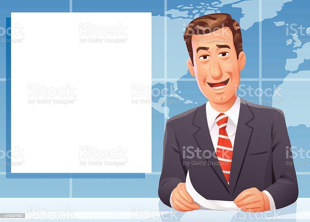 Presentador de noticias - ilustración de arte vectorial
