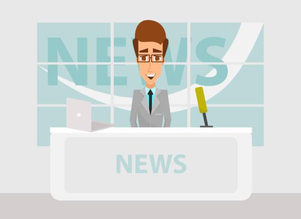 stockillustraties, clipart, cartoons en iconen met nieuws anchorman in breaking news en tv scherm lay-out. tv breaking news achtergrond. vectorillustratie in platte ontwerp - journaal presentator
