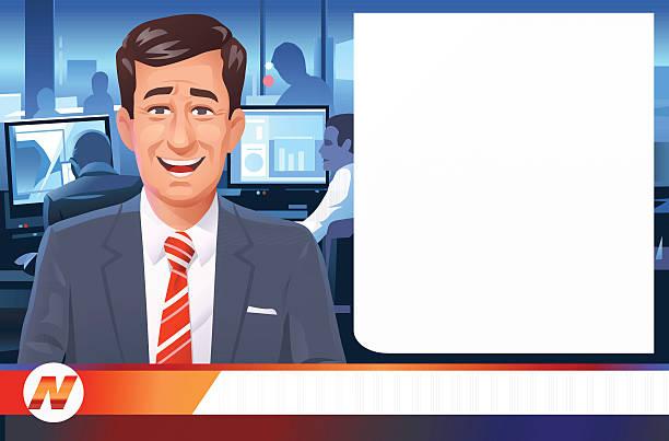 stockillustraties, clipart, cartoons en iconen met news anchorman - journaal presentator