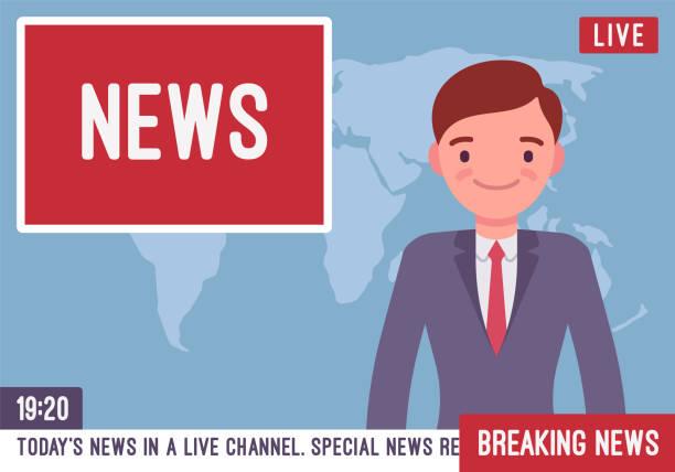 stockillustraties, clipart, cartoons en iconen met tv nieuws anchorman - journaal presentator