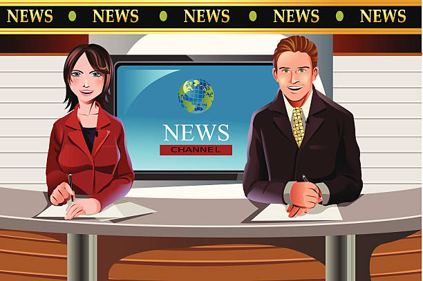 stockillustraties, clipart, cartoons en iconen met tv news anchors - perskamer