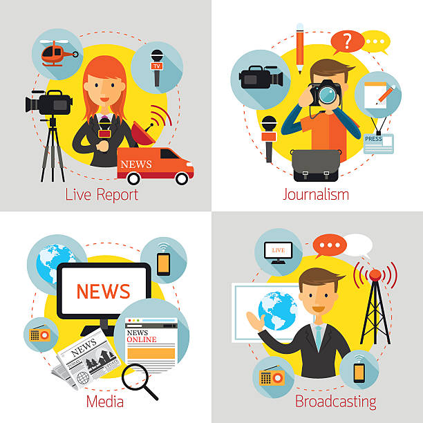 stockillustraties, clipart, cartoons en iconen met news and journalism concept set - journaal presentator