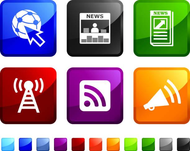 news und medien lizenzfreie vektor icon set aufkleber - standlautsprecher stock-grafiken, -clipart, -cartoons und -symbole