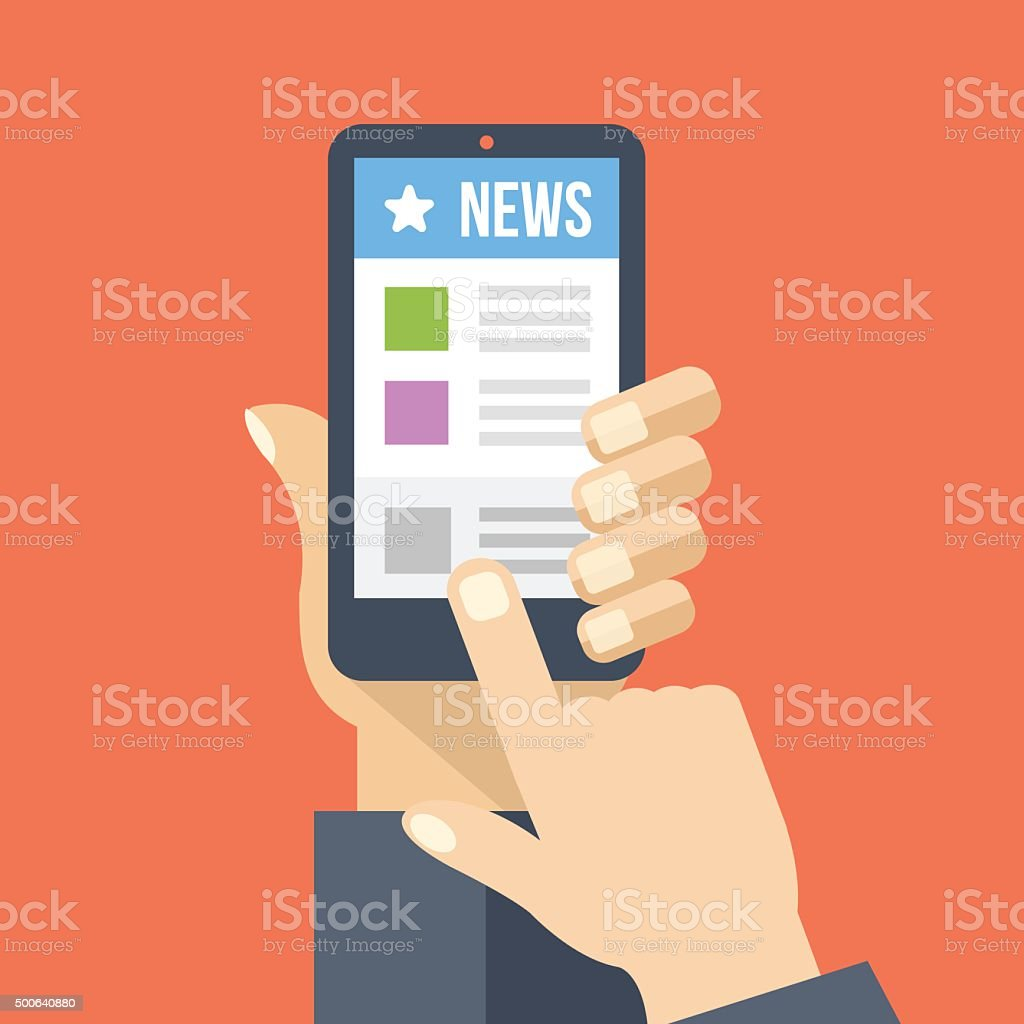 News app on smartphone screen. Online digital media vector art illustration