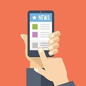 News app on smartphone screen. Online digital media