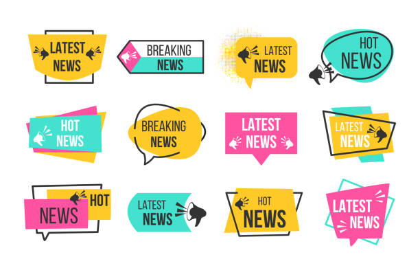 News badges. Newspaper and magazine braking latest and hot news stickers. Vector announcement geometric banners vector art illustration