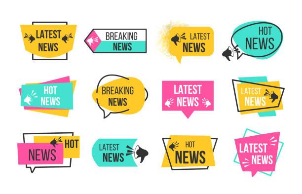 illustrazioni stock, clip art, cartoni animati e icone di tendenza di news badges. newspaper and magazine braking latest and hot news stickers. vector announcement geometric banners - newsletter