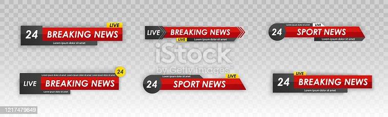 Tv news bar. Live television broadcast, streaming show. Sport news. Television broadcast media title banner. Logos, news feeds, television, radio channels. Vector illustration, EPS 10.
