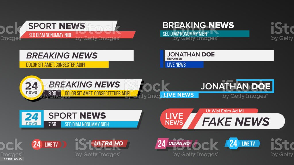 TV News Bars Set Vector. Sign Of Lower Third. Label Strip, Icon. Media Tag For Television Broadcast. Isolated Illustration vector art illustration