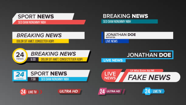 TV News Bars Set Vector. Sign Of Lower Third. Label Strip, Icon. Media Tag For Television Broadcast. Isolated Illustration TV News Bars Set Vector. Sign Of Lower Third. live News, Ultra HD. Banners For Broadcasting Television Video. Isolated Illustration broadcasting stock illustrations