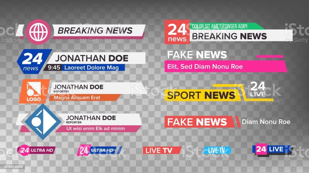 TV News Bars Set Vector. Sign Of Lower Third. Streaming Video News Sign. Isolated Illustration vector art illustration