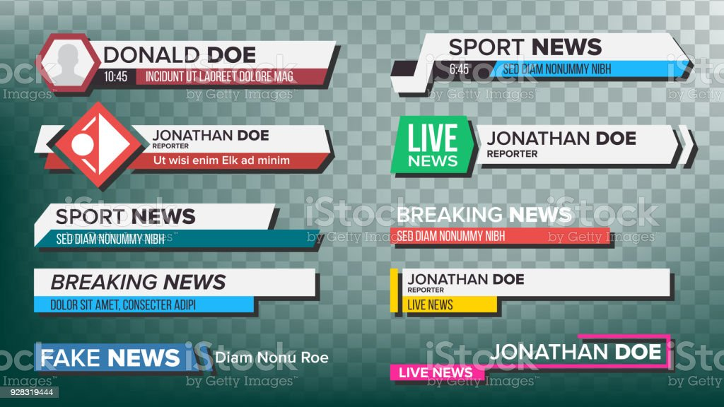TV News Bars Set Vector. Streaming Video News Sign. Breaking, Sport News. Interface Sign. Isolated Illustration vector art illustration