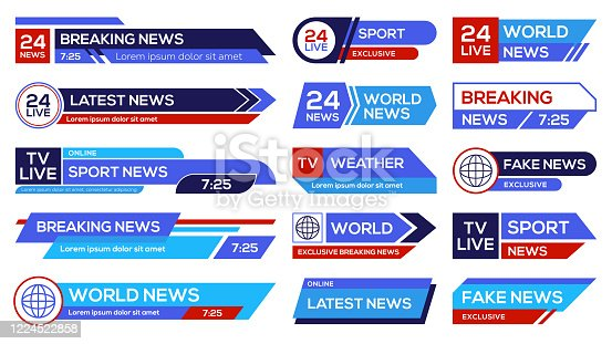 News broadcast emblems set. Headers on lower banners, channels emblems with sport, world, latest, breaking news. Vector illustration for television, TV show concept