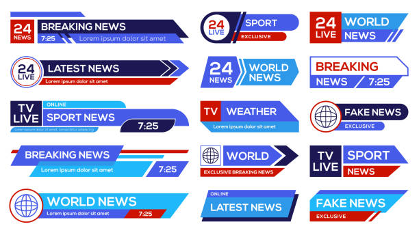 뉴스 방송 엠블럼 세트 - 샘플 텍스트 stock illustrations