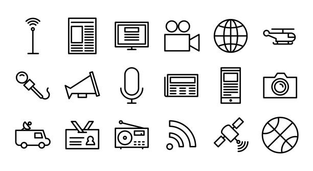 stockillustraties, clipart, cartoons en iconen met nieuws & broadcast line icon set - perskamer