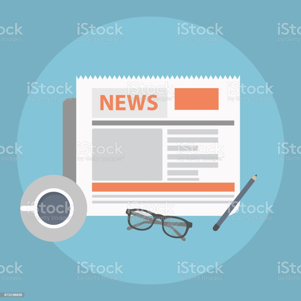 News concept. Newspaper with coffee, glasses and pencil. Flat vector. vector art illustration