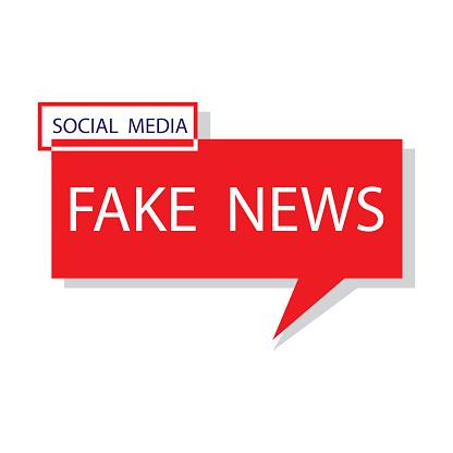 News fake. Posting a lie on social media. Deception of the mass media. Vector illustration. Stock image.