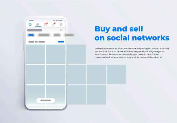 News feed in a social network in the form of a grid. Promotion in social media. vector art illustration