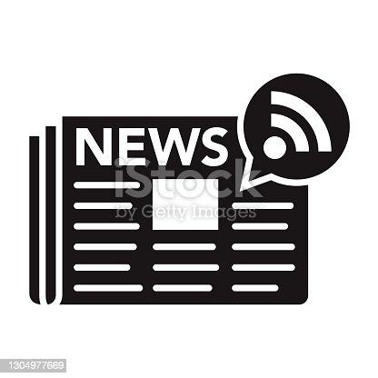istock News Feed Social Media Glyph Icon 1304977669