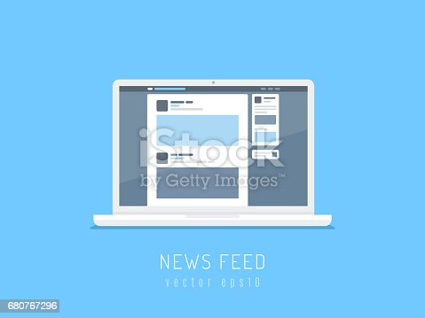 White laptop computer showing social network news feed on the screen. Vector illustration in flat style.