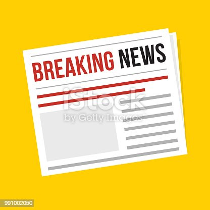 Breaking news, flat vector daily newspaper icon isolated on yellow background, vector web illustration art object with red headline. Publication, interview, reportage, article symbol.