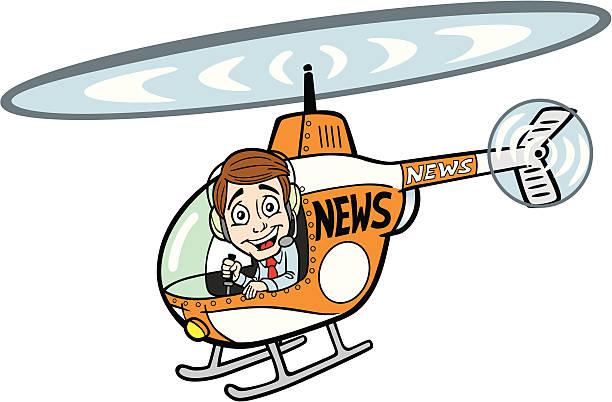 News Helicopter vector art illustration