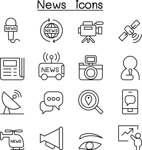News icon set in thin line style vector art illustration