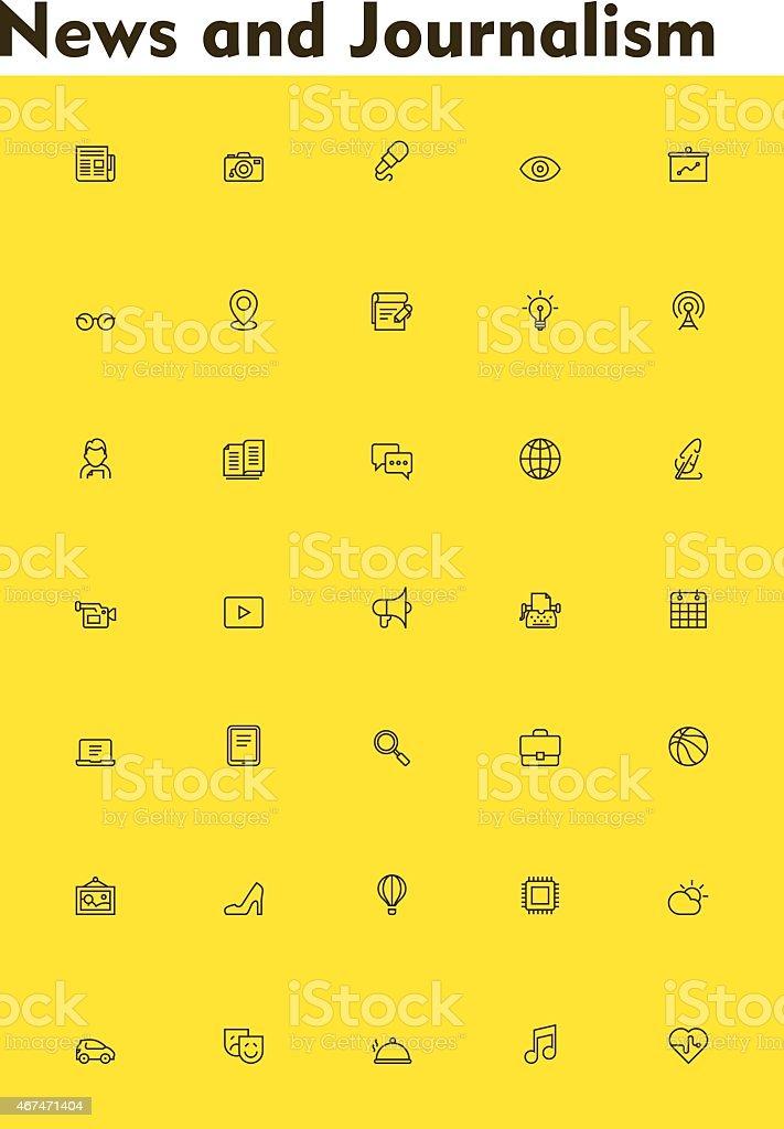 News icon set vector art illustration