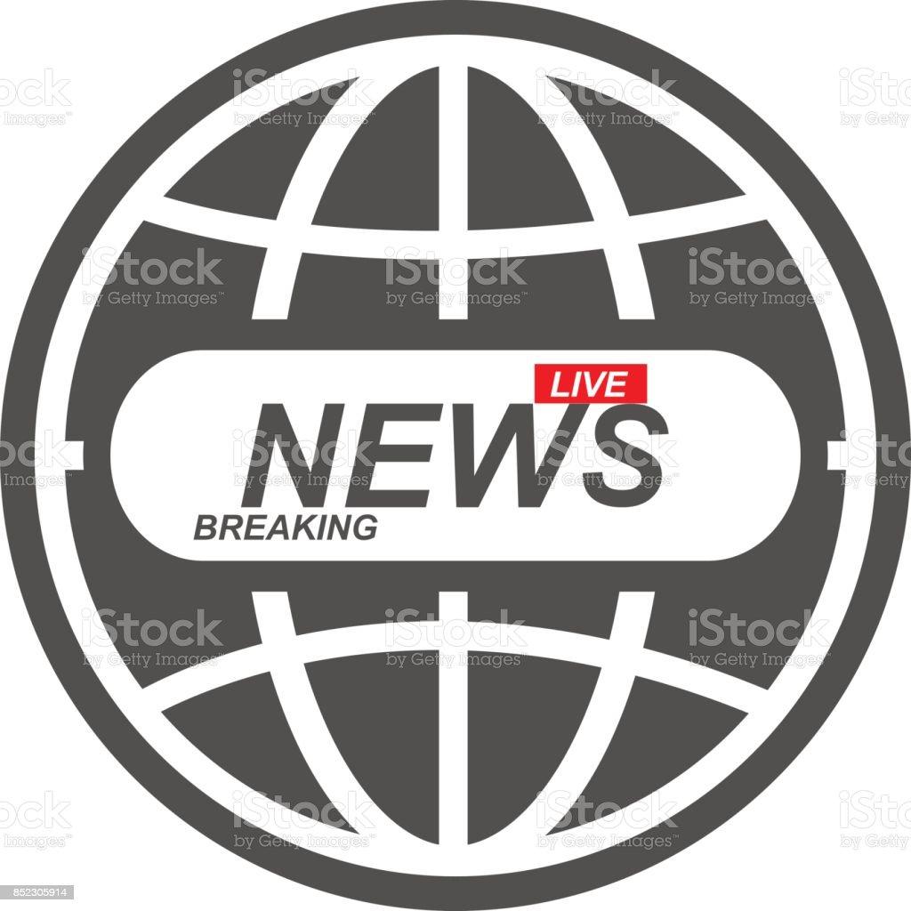 Nachrichtensymbol Globus Weltkugel Breaking News Live In Welt Stock ...