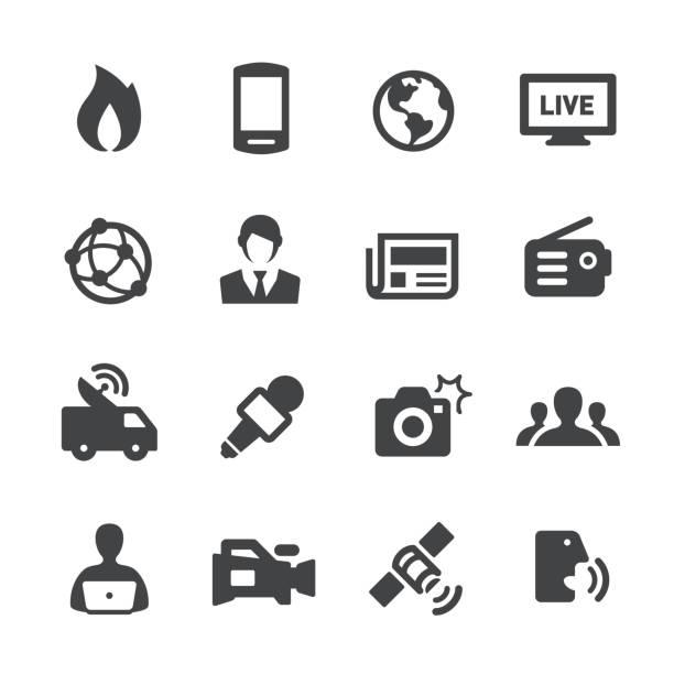 stockillustraties, clipart, cartoons en iconen met nieuws icons - acme serie - journaal presentator