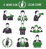 News icons on white background,green version,clean vector