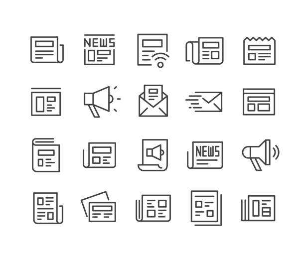 news icons set - classic line series - news stock-grafiken, -clipart, -cartoons und -symbole